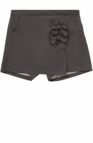 Юбка-шорты с бантами Aletta. Цвет: темно-серый