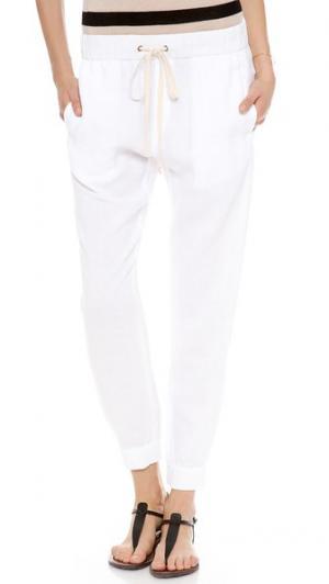 Льняные домашние брюки Enza Costa. Цвет: белый