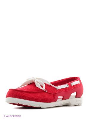 Мокасины Beach Line Hybrid Boat Shoe W CROCS. Цвет: красный