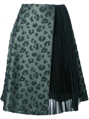 Жаккардовая юбка с плиссировкой Taro Horiuchi. Цвет: зелёный