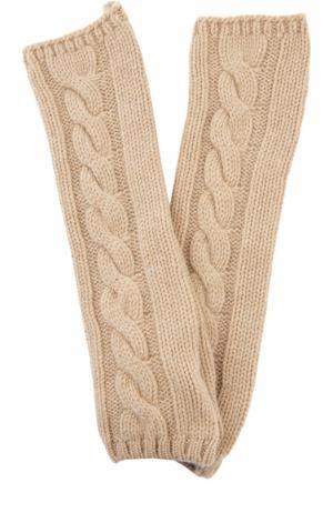 Вязаные митенки из кашемира Kashja` Cashmere. Цвет: темно-бежевый