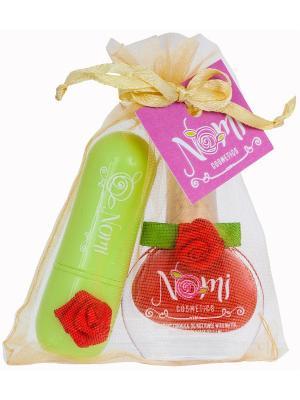 Подарочный набор №11- Лак для ногтей №01, Детский бальзам губ Клубника Nomi. Цвет: красный