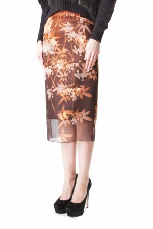 Шелковая юбка-карандаш с принтом Alexander Terekhov. Цвет: коричневый
