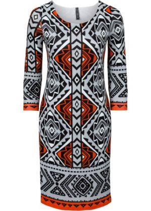 Вязаное платье (светло-серый меланж/оранжевый/серебристо-серый с рисунком) bonprix. Цвет: светло-серый меланж/оранжевый/серебристо-серый с рисунком