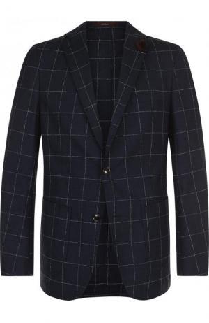 Однобортный шерстяной пиджак в клетку Windsor. Цвет: темно-синий
