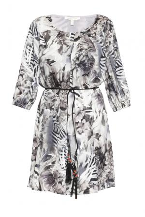 Платье из вискозы и шелка с поясом 163226 Anna Verdi. Цвет: разноцветный