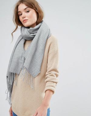 Stitch & Pieces Длинный шарф с кисточками. Цвет: серый