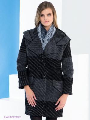 Пальто Say. Цвет: черный, серый