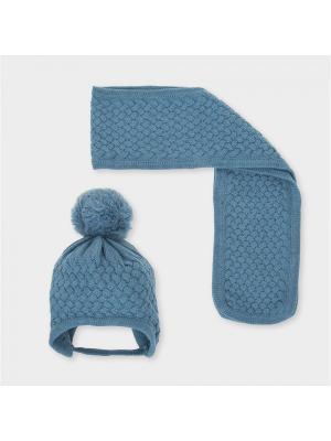Комплект из шапки и шарфа Tutto Piccolo. Цвет: серо-голубой
