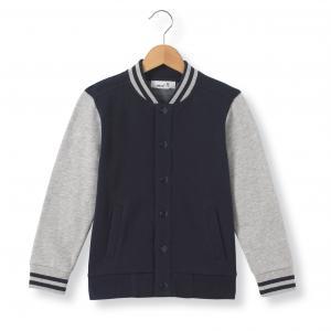 Блузон двухцветный в стиле Тедди,  3-12 лет La Redoute Collections. Цвет: серый меланж/темно-синий