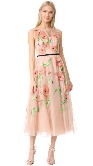 Платье с вышитыми цветами Lela Rose. Цвет: розовый мульти