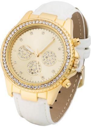 Наручные часы со стразами (белый/золотистый) bonprix. Цвет: белый/золотистый