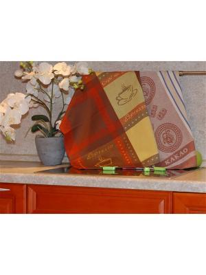 Набор жаккардовых полотенец 50х70 2 штуки SET-10 (Эспрессо,Какао) в пакете ТекСтиль для дома. Цвет: желтый, бежевый, голубой, коричневый, красный