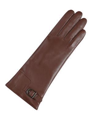 Кожаные перчатки ESMEE. Цвет: светло-коричневый