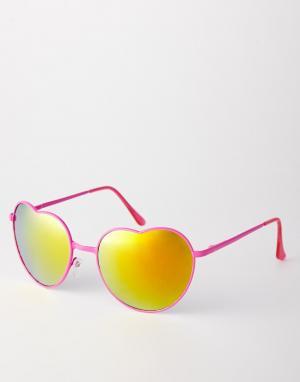 Зеркальные солнцезащитные очки с оправой в форме сердца Trip. Цвет: pink mirror