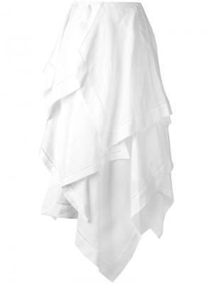 Длинная юбка с рюшами J.W.Anderson. Цвет: белый