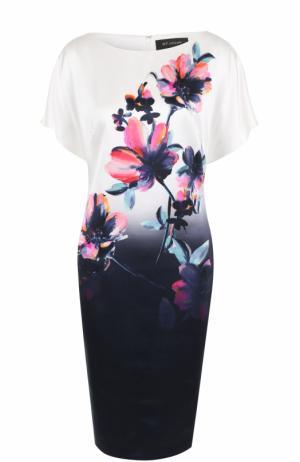 Шелковое платье с вырезом-лодочка и принтом St. John. Цвет: разноцветный