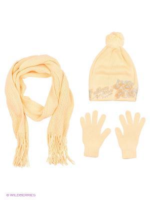 Шапка;  шарф; перчатки Krife. Цвет: персиковый
