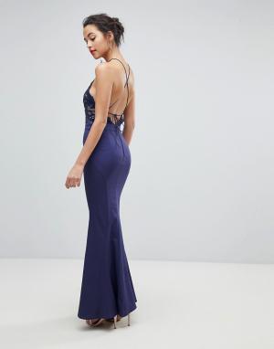 Jarlo Кружевное платье с высоким воротом. Цвет: темно-синий