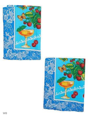 Набор полотенец вафельных кухонных Римейн. Цвет: малиновый