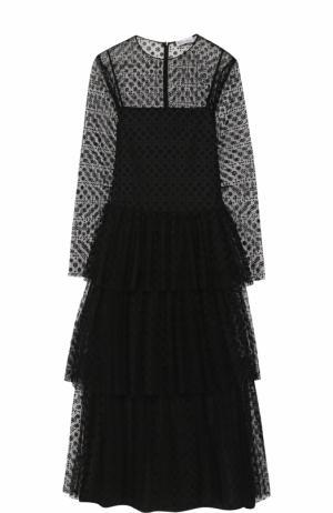 Приталенное кружевное платье-миди с длинным рукавом REDVALENTINO. Цвет: черный