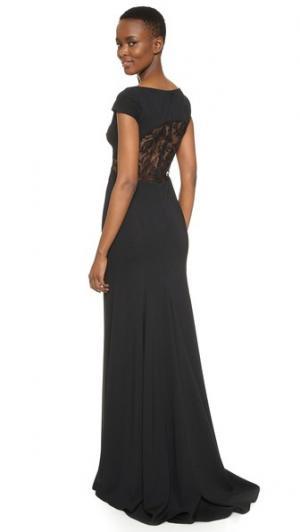 Вечернее платье с открытой спиной Lela Rose. Цвет: голубой