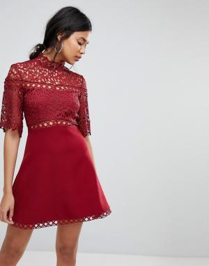 Keepsake Платье мини с кружевом. Цвет: красный