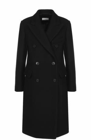 Двубортное шерстяное пальто Dries Van Noten. Цвет: черный