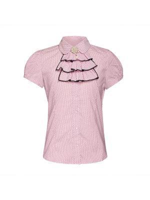 Блузка для девочки с коротким рукавом 7 одежек. Цвет: темно-синий,розовый