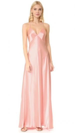 Атласное вечернее платье-комбинация Jill Stuart. Цвет: ярко-персиковый