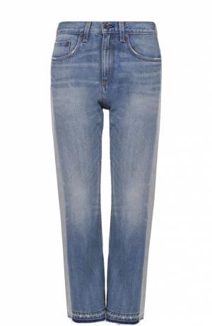 Укороченные расклешенные джинсы с лампасами Rag&Bone. Цвет: голубой