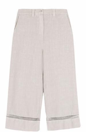 Укороченные льняные брюки с карманами 120% Lino. Цвет: бежевый
