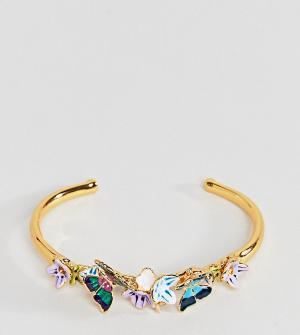 Bill Skinner Золотистый браслет-манжета с бабочками. Цвет: золотой