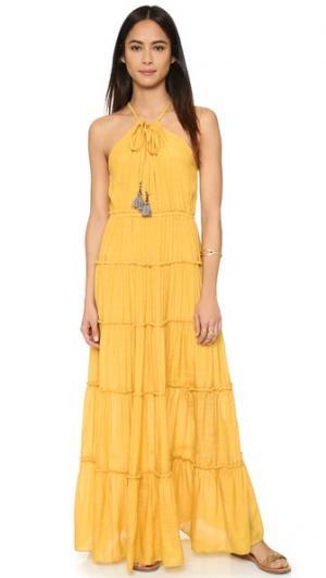 Макси-платье с оборками MISA. Цвет: оранжевый