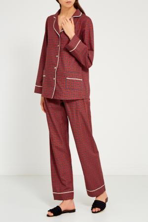 Красная пижама с брюками Primrose. Цвет: красный