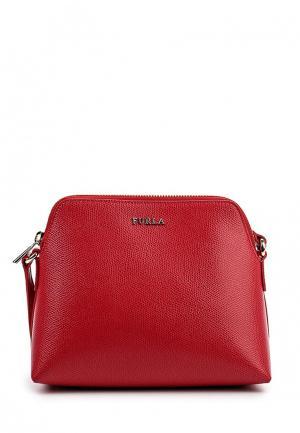 Комплект косметичка, кошелек и сумка Furla. Цвет: красный