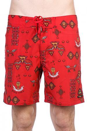 Пляжные мужские шорты  Snake Brain Mid Flustered Insight. Цвет: красный