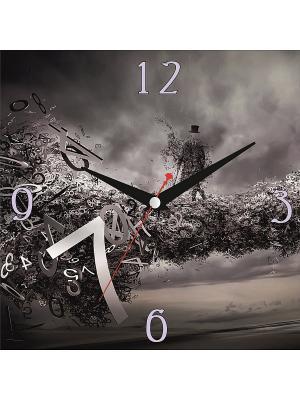 Картина стеновая с часовым механизмом 400*400мм ДСТ. Цвет: серый