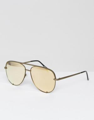 Quay Australia Золотистые солнцезащитные очки-авиаторы X Desi Perkins. Цвет: золотой