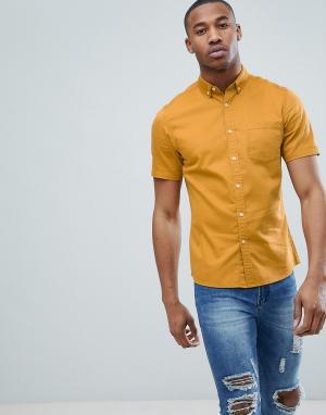 ASOS Приталенная эластичная джинсовая рубашка горчичного цвета DESIGN. Цвет: желтый