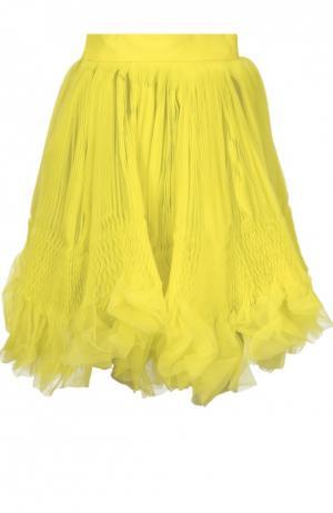 Многослойная плиссированная мини-юбка Dsquared2. Цвет: желтый