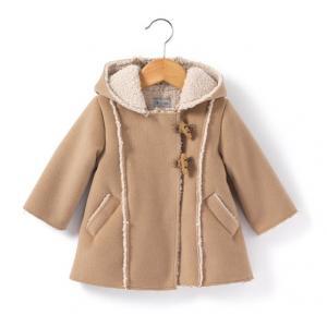 Пальто на подкладке из шерпы R baby. Цвет: темно-бежевый