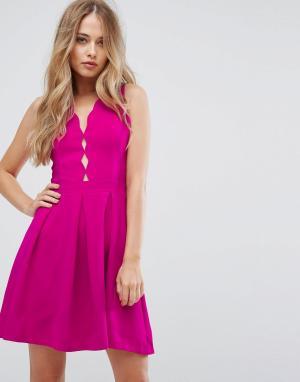 Adelyn Rae Приталенное платье со свободной юбкой Serena. Цвет: розовый