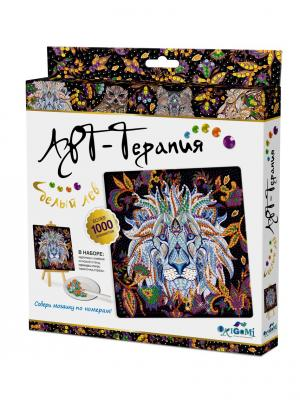 Арт-терапия. Мозаика. Алмазные узоры. Белый лев Origami. Цвет: черный, белый, золотистый