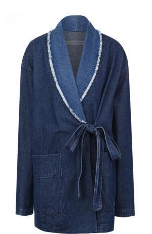 Джинсовая куртка свободного кроя с потертостями Raquel Allegra. Цвет: синий