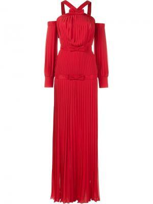 Плиссированное вечернее платье с открытыми плечами Alessandra Rich. Цвет: красный