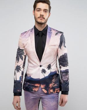ASOS Супероблегающий пиджак с принтом. Цвет: розовый