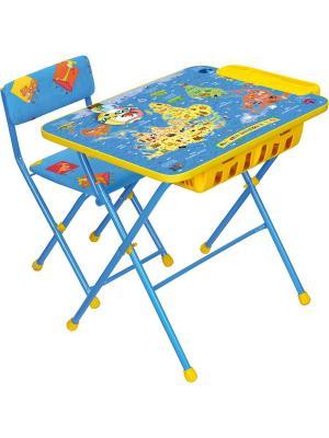 Комплект мебели (стол+бол. пенал+стул.мягк) Nika. Цвет: синий