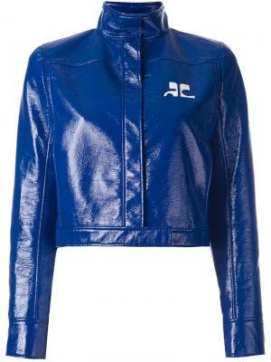 Виниловая укороченная куртка Courrèges. Цвет: синий