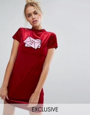 Lazy Oaf Облегающее бархатное платье эксклюзивно для. Цвет: красный